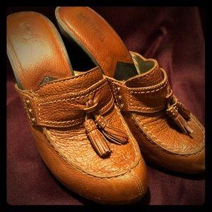 Michael kors leather heeled clog